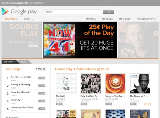 Google Play Music Service For Android and Web