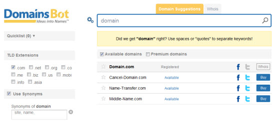 Domain Suggestions