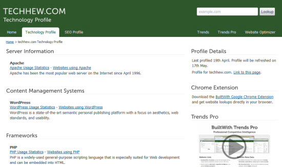 BuiltWith: Know on which Technologies Website is built