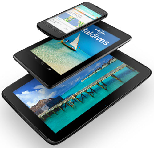 Google with a Trio Series of Nexus: Nexus 10, Nexus 4, Nexus 7